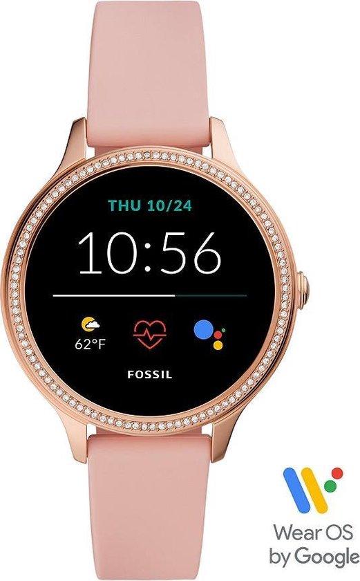 Fossil Gen 5E FTW6066 Dames Smartwatch - 42 mm - Roze