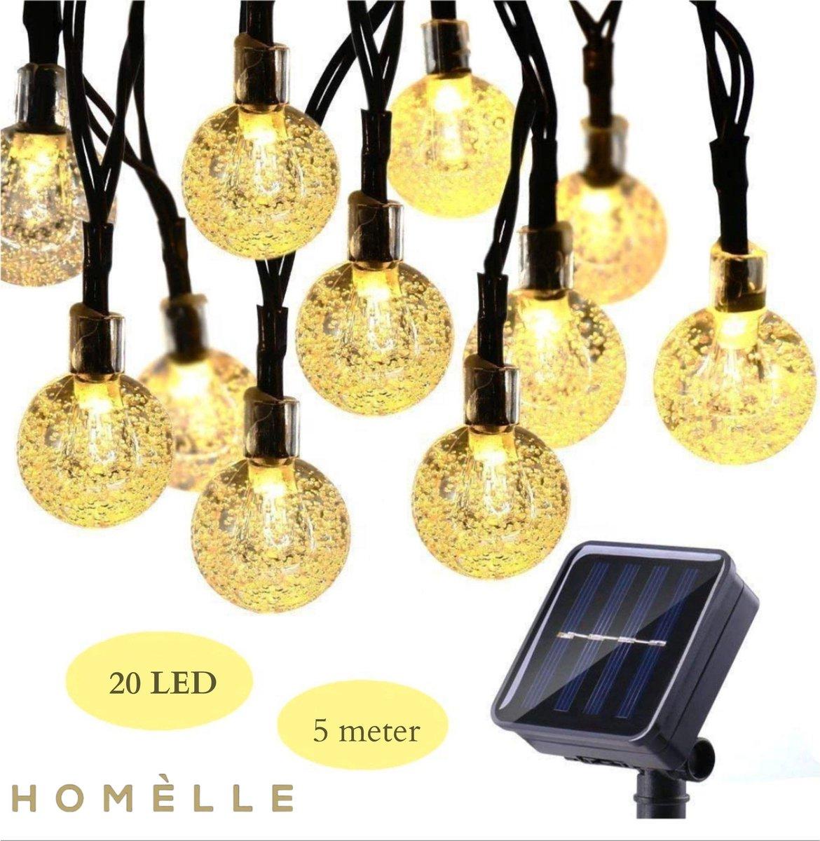 Homèlle Solar lichtsnoer - 20 LED - 5 meter - Warm-wit - ø2cm - Tuinverlichting op zonne-energie - B