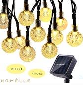 Homèlle Solar lichtsnoer - 20 LED - 5 meter - Warm-wit - ø2cm - Tuinverlichting op zonne-energie - Buitenverlichting - Lichtslinger - Lampjes slinger - Cristal