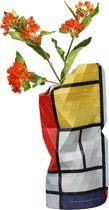 Tiny Miracles - Duurzame Design Vaas - Paper Vase Cover - Mondriaan - Composition Red - Small