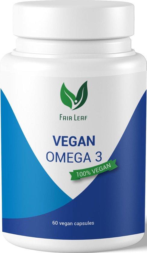 Fair Leaf - Vegan Omega 3 (Algenolie) - 300mg DHA / 150mg EPA - 100% natuurlijk - 60 vegan capsules