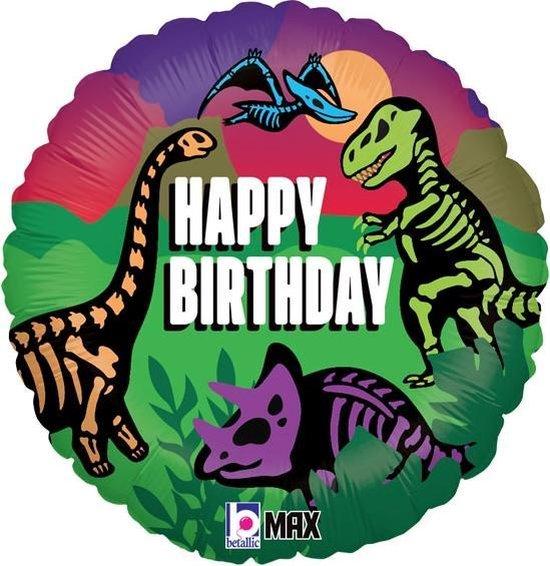 Folieballon Happy Birthday Dinosaurussen 46 cm