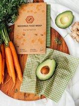 Bijenwas wraps - Beeswax food wrap - Beewax - Bee wrap - Bijenwasdoek - Zero Waste - 3 stuks; klein, middel, groot - Herbruikbaar - Duurzaam Cadeau - Boterhamzakje - Bijenwas Doek