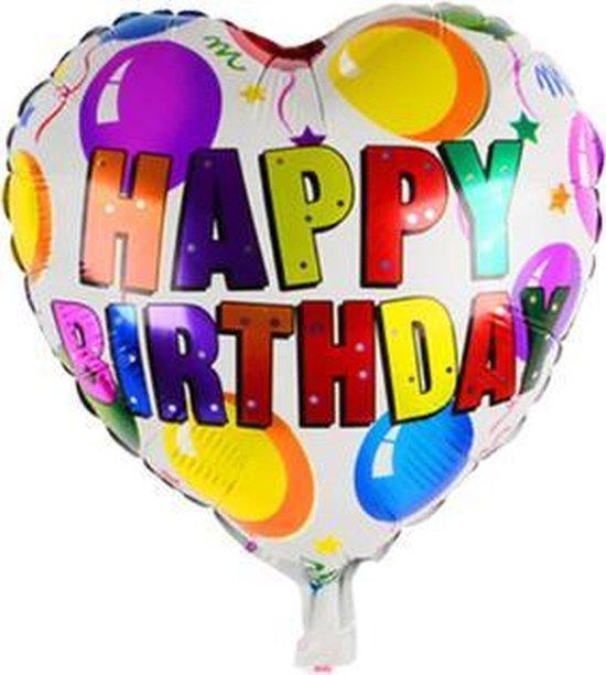 Happy Birthday Hart ballon - 45x45cm - Verjaardag - Versiering - Thema feest - Folie ballon - Helium