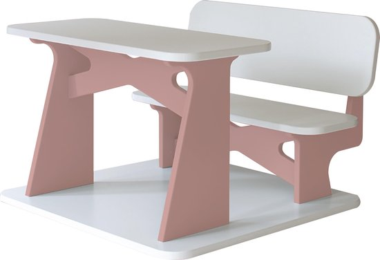 Dipperdee kinderbureau wit roze - hout - 65cm x 60cm x 41cm