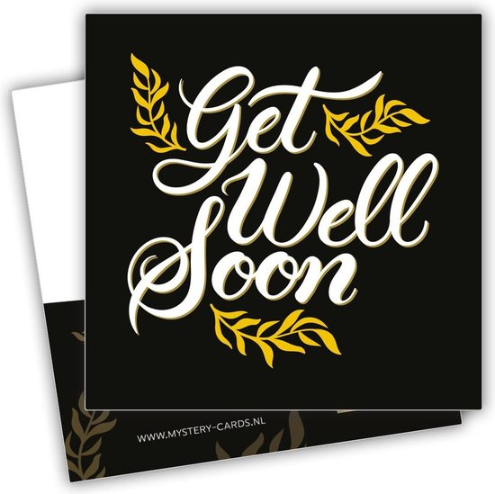 Get well soon - (Beterschap gewenst) | Mystery Card | Kaart met geheime boodschap - Goud | Zwart