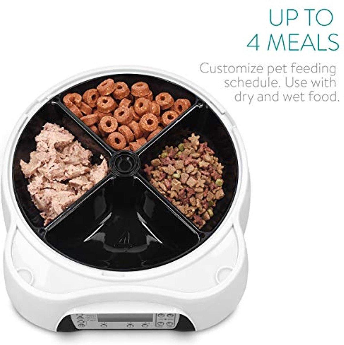 Automatische voederautomaat met drinkstation, voederdispenser voor honden en katten, voederbak, eetk