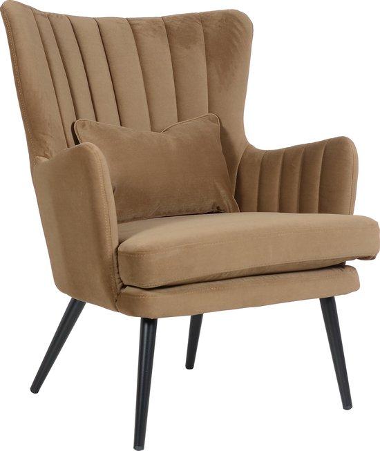 Alora Stoel Charlie Bruin - Velours - relaxstoel - fauteuil - eetkamerstoel