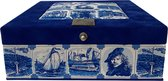 The Dutch Tea Box  Holland Souvenir Theedoos met Thee Cadeau - 9 vaks - Blauw
