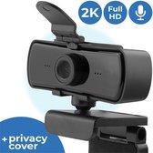 2K USB Webcam voor PC met Webcam Cover en Microfoon - Full HD Web Camera - 2K Webcam voor Laptop - Werkt op Windows en Mac - Geen Software Nodig - 1440p