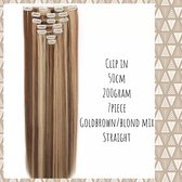 Clip In Extensions DUBBELSET 200gr 50cm gold brown /blond MIX