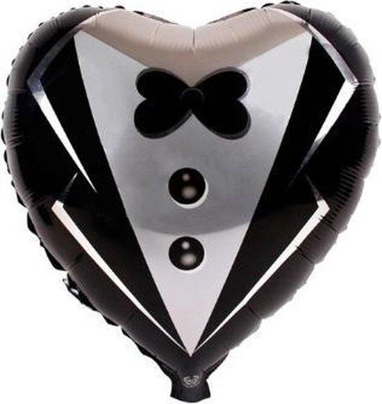 Bruidegom trouwballon - 45x45cm - Trouw versiering - Folie ballon - Helium ballon - Trouwfeest - Trouwen - Versiering - Trouw jubileum - Feest versiering  - Hart - Bruiloft - Bruidegom ballon - Ballonnen - Mr& Mrs - Valentijn  – Decoratie – Aanzoek