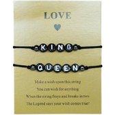 Armbanden set (2 st.) - King en Queen - Zwart RVS - Unisex - Lieve Jewels