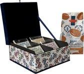 The Dutch Tea Box Fiets Theedoos met Thee en Stroopwafels - 4 vaks - Blauw