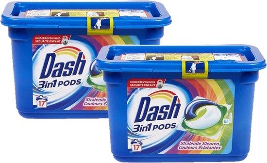 Dash Wasmiddel pods 3in1 Stralende Kleuren - 2 x 17 pods