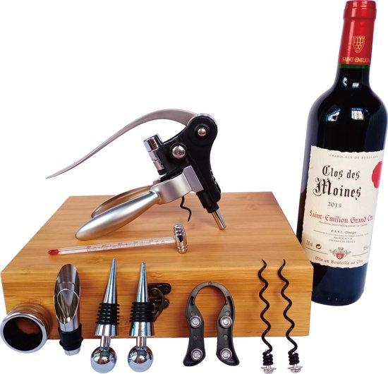 Wijn geschenken en cadeau set met 9 wijn accessoires, waaronder kurkentrekker met hefboom