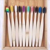 10 Stuks Bamboe Tandenborstel - 10 verschillende kleuren  - Zacht / Medium - Biologisch afbreekbaar | 100% organisch