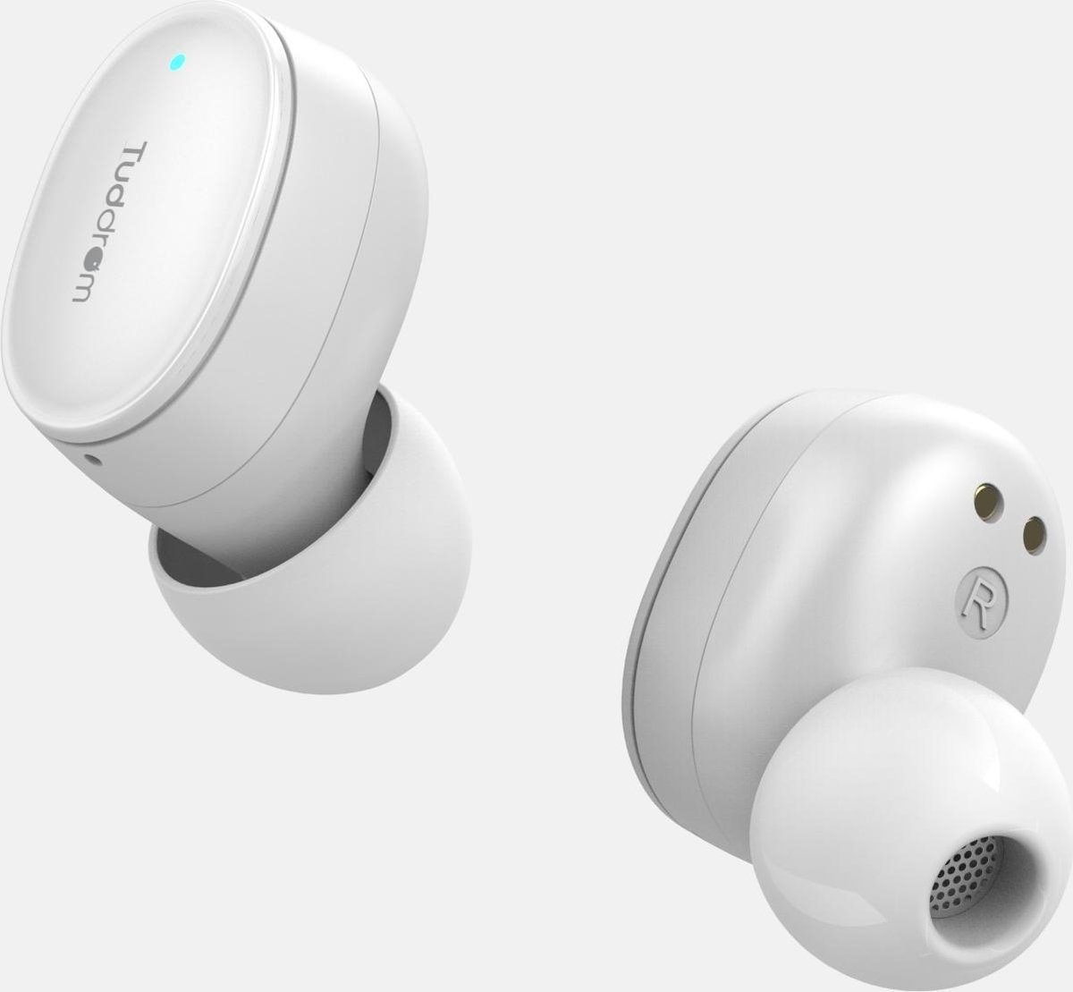 Tuddrom T200 Wit – Wireless Earbuds Oordopjes met Powerbank Opbergdoos – Polymer Composite Diaphragm Drivers – Bluetooth 5.0 – IPX5 Waterdicht – 2 Jaar Garantie