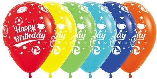 Ballonnen Happy Birthday Sport, 6 stuks, Verjaardag, 100% biologisch afbreekbaar.