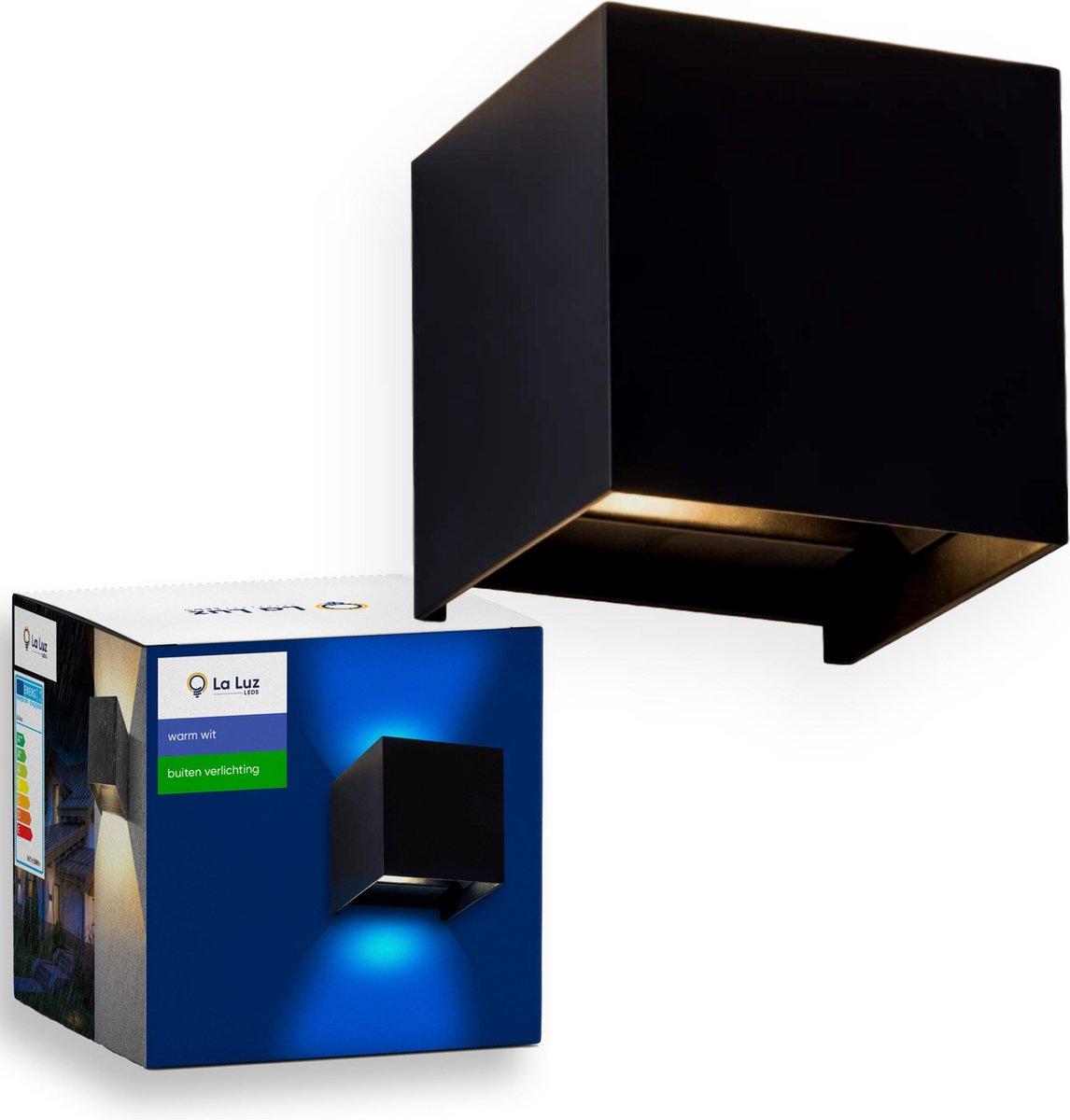 LED Wandlamp, Kubus - Buitenverlichting - Waterdicht - Warm Wit - Tuinverlichting - Aluminium - Zwar