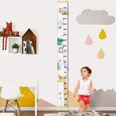 Vitamo Groeimeter Giraf & Co - Dieren - Canvas Stof en Hout - Kinderkamer decoratie - Babykamer accessoires - Wanddecoratie - Kraamcadeau