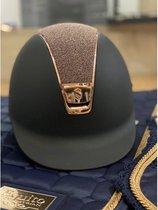 Samshield Shadowmatt cap met Swarovski top en rose frame en button