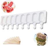 Siliconen Ijsvorm -GRATIS 50 Stokjes - 8 IJsjes - Magnum Maker - Waterijs Maker - Fruitijs Maker- Yoghurt ijs Maker- Ijsjeshouders - Magnum Mold- DIY Kitchentools