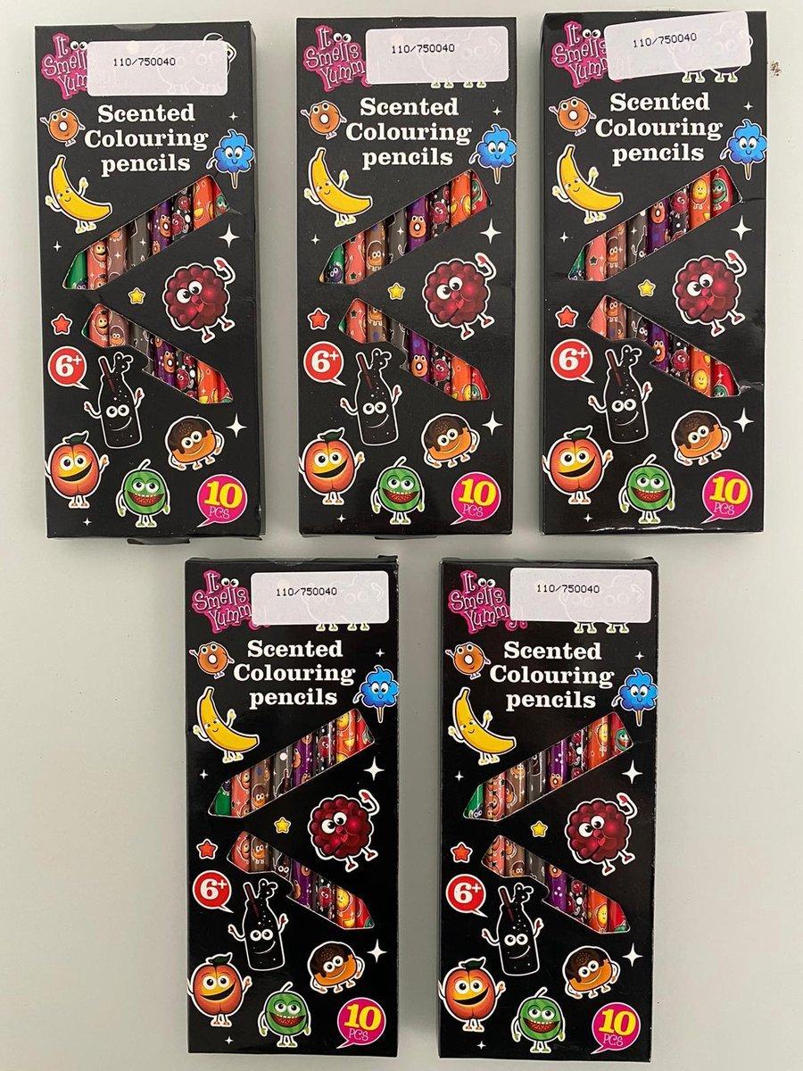 Gekleurde potloden met geur (vanaf 6 jaar) - set van 5 keer 10 potloden (divers)