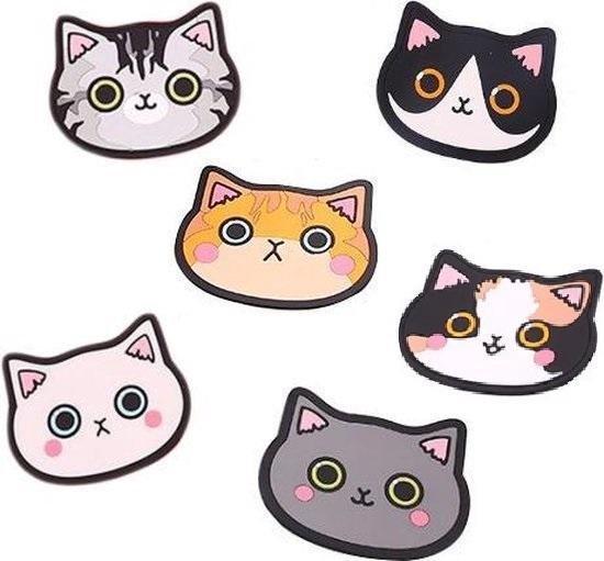 Onderzetters - Onderzetters voor glazen - Katten Onderzetters - Voor Glazen - Katten Accessoires - Katten Decoraties - Set van Zes Onderzetters - Hittebestendig - Antislip - Cadeau - Kattenliefhebber