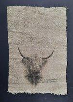 Shabby doek Schotse hooglander 30 x 45 cm