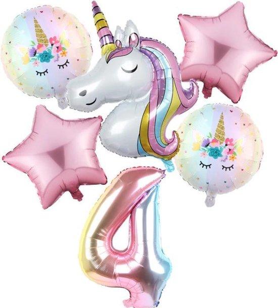 Set van 6 Stuks Unicorn / Eenhoorn ballonnen Verjaardagsfeestje Decoraties ( 4 jaar)