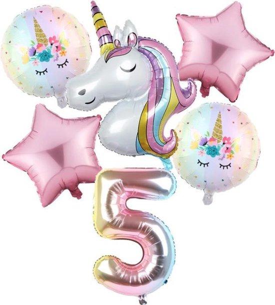 Set van 6 Stuks Unicorn / Eenhoorn ballonnen Verjaardagsfeestje Decoraties ( 5 jaar)