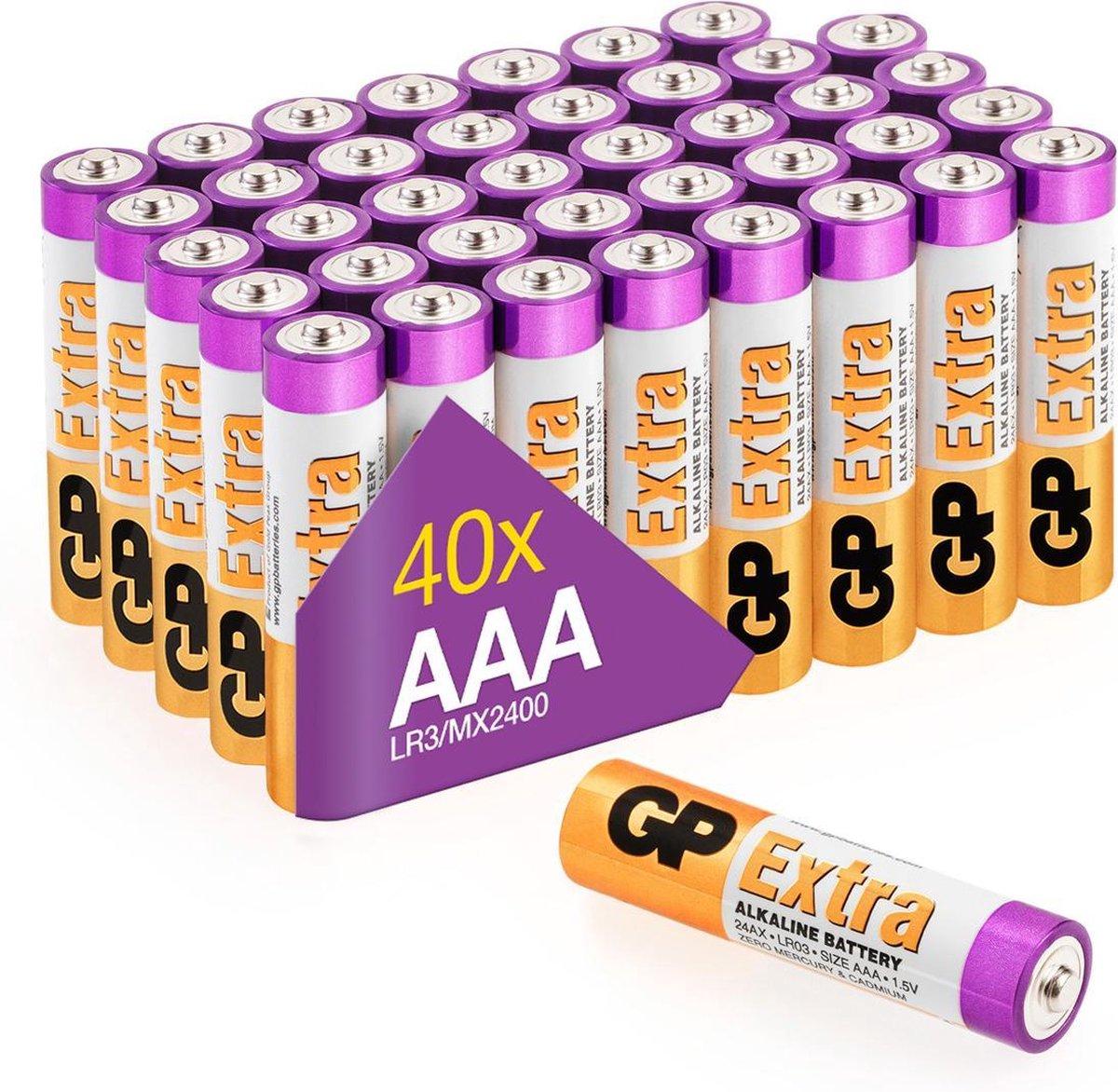 GP Extra Alkaline batterijen AAA micro mini penlite LR03 batterij 1.5V - 40 stuks - AAA batterij