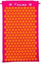 Flowee Spijkermat – Fuchsia met oranje – (75cm x 45cm) – Acupressuur mat – Acupressure mat