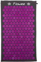 Flowee Spijkermat – Grijs met Paars – (75cm x 45cm) – Acupressuur mat – Acupressure mat