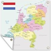 Tuinposter Kaart Nederland - Pastel gekleurde kaart van Nederland tuinposter los doek 60x80 cm - Tuindoek/Buitencanvas/Schilderijen voor buiten (tuin decoratie)