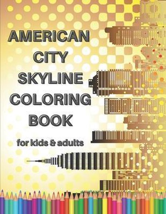 American City Skyline Coloring Book for Kids & Adults