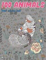 Adult Coloring Book Mandala 100 Animals