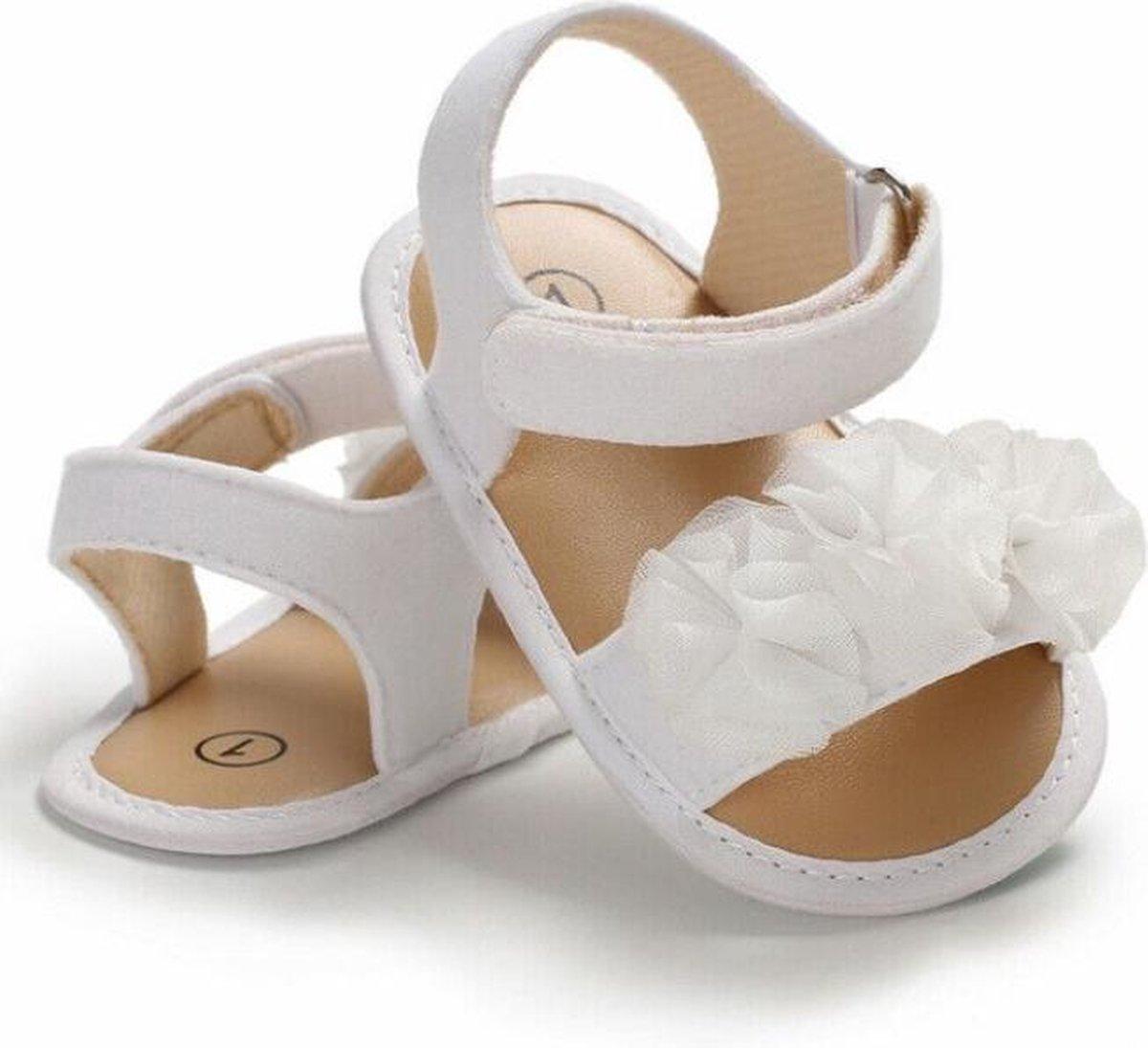 Witte sandalen   zomer schoenen   baby meisjes   antislip zachte zool   0 tot 6 maanden   maat 19