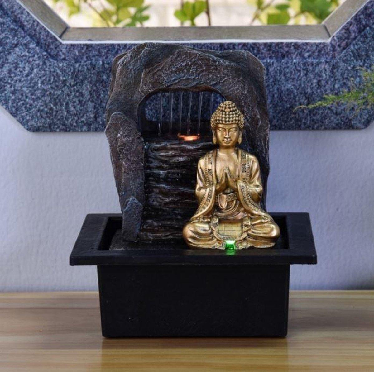 Fontein Boeddha Zen Dao 25 cm hoog - fontein -interieur - fontein voor binnen - relaxeer - zen - waterornament - cadeau - geschenk - kerst - nieuwjaar - verjaardag - origineel - lente - zomer - lentecollectie - zomercollectie - afkoeling - koelte