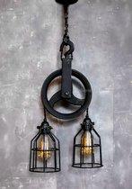 Industriële Katrol Dubbele Kooilamp - Hanglamp Industrieel & Landelijk interieur / design