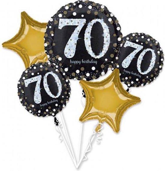 Anagram Folieballonpakket Sparkling 70th Birthday Zwart 5-delig