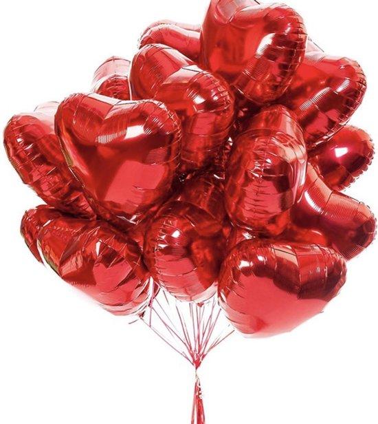 Ballonnenset Hart | Rood | 10 stuks | Folieballonnen | 45cm | Helium ballon | Valentijn | Huwelijk