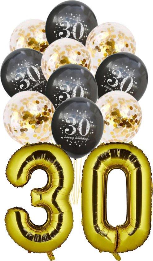 Folie Ballon 30 jaar - met 5 gouden en 5 zwarte ballonnen - Goud - Zwart - verjaardag ballonnen - 1 meter