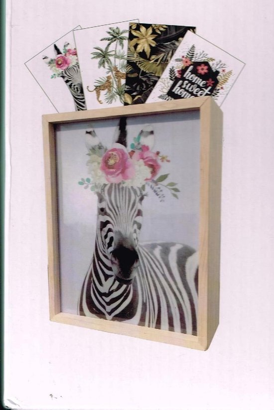 houten lightbox inclusief 4 platen 18x6.8x23 cm