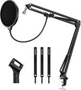 microfoon arm - Microfoonstandaard met pop-bescherming, professionele microfoonstandaard voor Blue Yeti en Blue snowball opnames, radio-microfoonarm met kabelbinders, popfilter, masker
