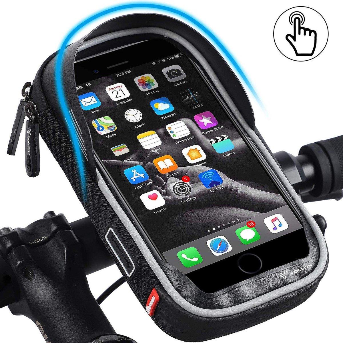 Telefoonhouder Fiets Waterdicht - met Opbergvak - Universeel Telefoon Houder voor Mobiel Scooter en