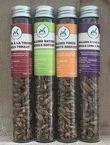 Nimavert: Gedroogde krekels - set van natuur - tomaat - gerookt - knoflook & peterselie
