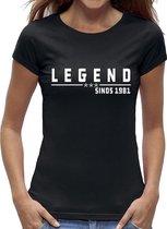 40 jaar verjaardag t-shirt vrouwen / kado cadeau tip / dames maat M / Legend 1981