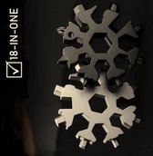 Fietsgereedschap -  Snowflake 18-in-1 Multitool - Gereedschap -Sleutelhanger -  Sneeuwvlok - 18 delig - Flessenopener - Inbussleutel - Zwart